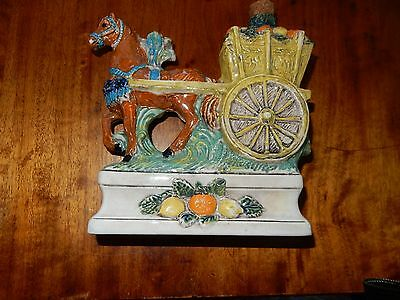 Stunning Vintage Made Italy Horse Pulling Cart Decanter Unique has Marking