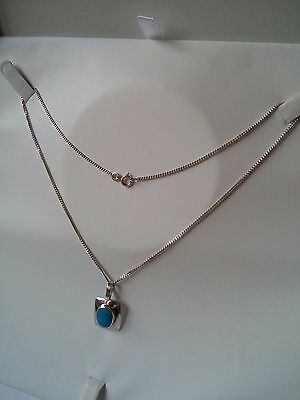 Sterling Silver Vintage Turquoise Necklace / Chain & Pendant 4.6 g Stamped 925
