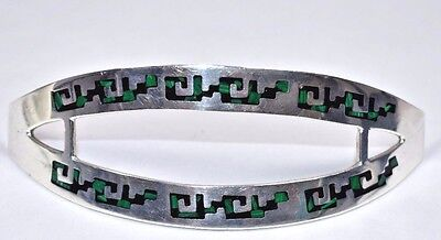 Stunning VTG HUGE TAXCO HEAVY Sterling Silver 925 MALACHITE Hair Barrette 31.7g