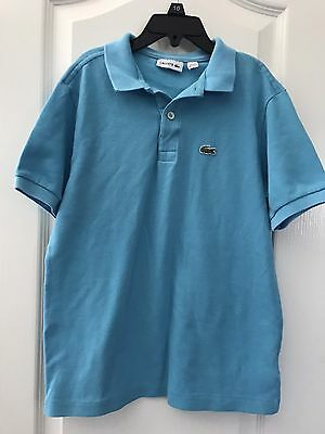 Youth Boys LACOSTE S/S Aqua Polo Shirt Sz 12 152 CM