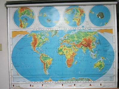 Nystrom 2 Layer World Pull Down Classroom/School Wall Map 1PR98