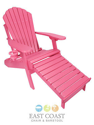 New Pink Outer Banks Poly Wood Adirondack Chair with Integrated Foot Rest