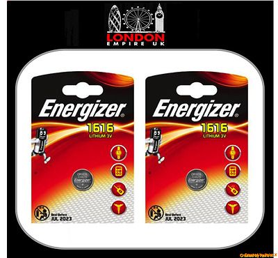 2 x Energizer CR1616 3V Lithium Coin Cell Battery DL1616 KCR1616, BR1616 1616