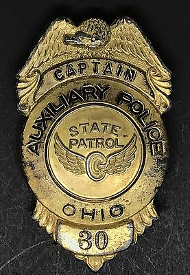 VINTAGE OBSOLETE CAPTAIN AUXILIARY STATE PATROL OHIO 30 Collector's Police Badge
