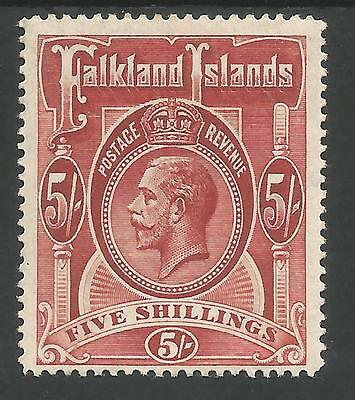 Falkland Is Sg67 The 1916 Gv 5/- Rose Red  Fine Mint Cat £120