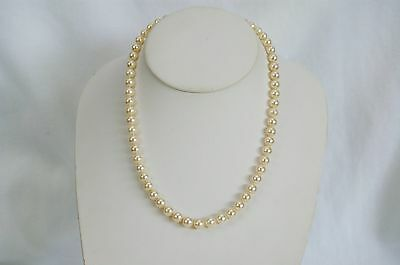 """Vintage 14K Yellow Gold Single Strand 5mm Akoya Pearl Necklace 16.5"""""""