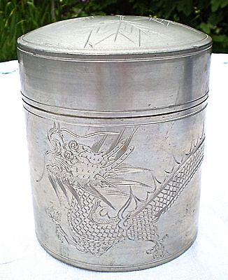 Chinese Pewter Tea Caddy/box With Inner Lid