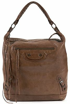 BALENCIAGA Authentic Brown Leather Classic Day Hobo Shoulder Bag