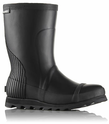 Sorel Joan Rain Short Boot, Womens, Black, Sea Salt, 8.5