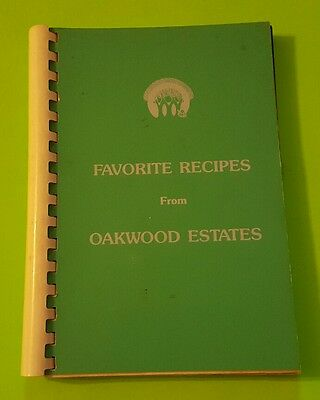 Vintage 1989 Favorite Recipes From Oakwood Estates Spiral-Bound Cookbook