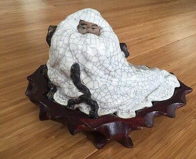Unusual Chinese Figurine Man (Du Fu?) in chair with clouds mountain robes white