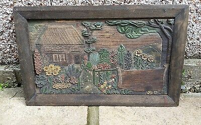 Old antique art deco, timber picture not oil painting, hand made, garden flowers