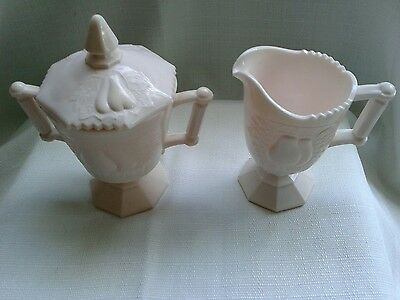 Pink milk glass footed cream and sugar with lid Baltimore Pear Jeannette