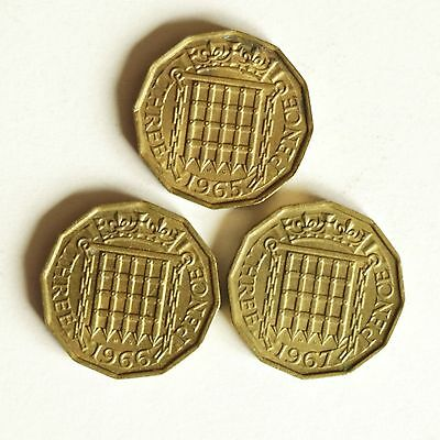 Three Elizabeth II brass THREE-PENCE coins dated 1965 to 1967