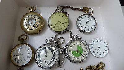 Lot Of Antique Pocket Watches One Solid Silver Case For Spares Or Repair