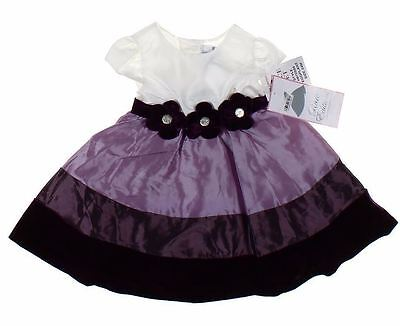 Baby Girl Dress Flower Cap Sleeve White Purple Party Holiday  Bloomers 24 M