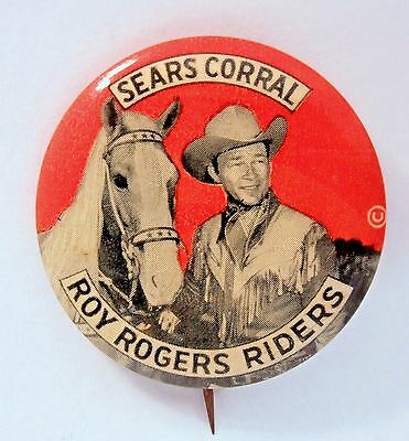 """cowboy SEARS CORRAL ROY ROGERS RIDERS 1.75"""" pinback button TV movies Western *"""
