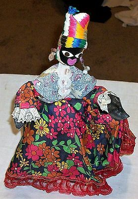 VINTAGE 50s BARBADOS SOUVENIR HANDMADE WIRE BLACK DOLL 18th CENTURY DRESS