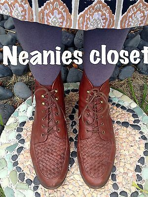 Vintage Jane Debster Walnut Leather Woven Toe Laceup Ankle Boots So Gorgeous