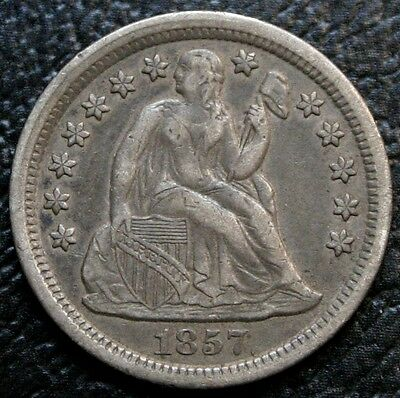 1857 Seated Liberty Dime AU Almost Uncirculated 10C Silver Coin