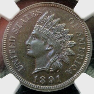 1891 Proof 1C Indian Head Cent NGC PF-64 BN