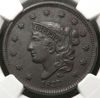 1837 N-9 Coronet Or Matron Head Large Cent BN NGC AU-55 Head Of 1838
