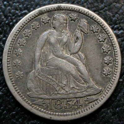 1854 Seated Liberty Dime XF/AU 10C Silver Coin