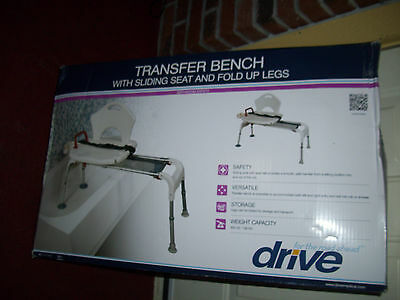 NEW DRIVE TRANSFER BENCH - Medical Folding Universal Sliding - 300 lb Weight Cap