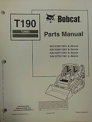 bobcat t190 turbo skid steer parts manual book 6901352