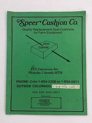 """Vintage Farm Equipment Replacement Seat Catalog """"Speer Cushion Co"""" Tractor Seats"""