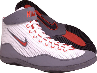Nike Inflict Wrestling Shoe - White/Red/Grey - 325256-106