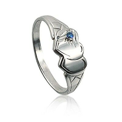 Girls/ladies Double Heart 925 Sterling Silver Signet Ring With Blue Stone