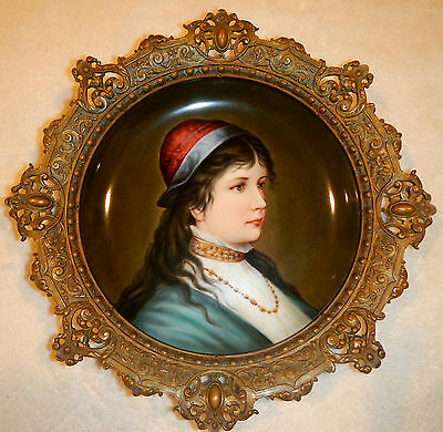 Lovely Antique Porcelain Plate In Heavy Bronze Frame: Portrait Of A Young Woman