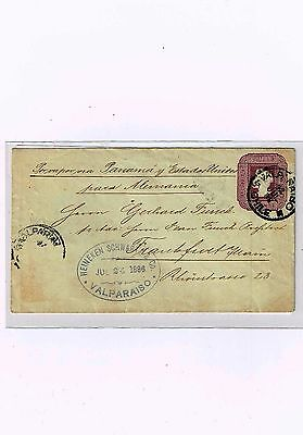 R) 1886 Chile, Valparaiso Frankfurt With Printed Stamp