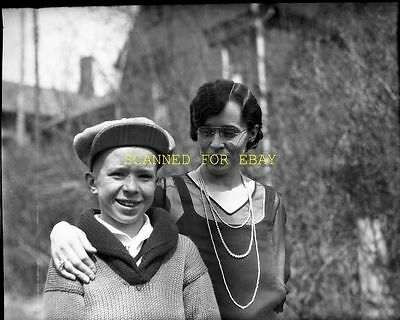 Early 1900s Boy with Great Hat & Sweater  ORIGINAL PHOTO NEGATIVE