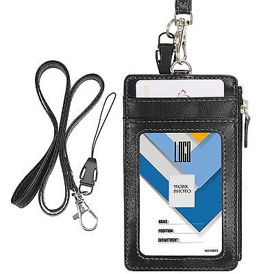 Double-Sided PU Leather ID Card Badge Holder w/ Zipper Neck Lanyard Strap Black