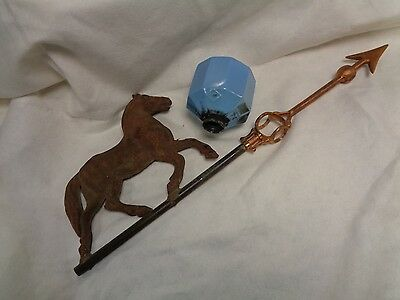 OLD HORSE WEATHERVANE plus DS  Lightning rod ball