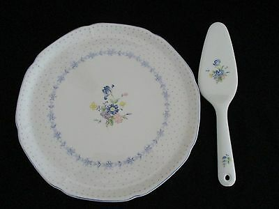 Nikko Blue Peony Cake Plate & Ceramic Server Perfect Condition Made In Japan