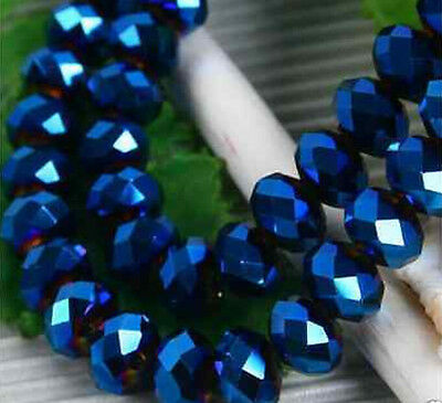 Lovely 100pcs 6x4mm Crystal glass Loose Beads Darkblue AB FREE SHIPPING