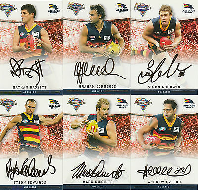 2007 Select Champions - Foiled Signature Card Adelaide Crows Complete Set