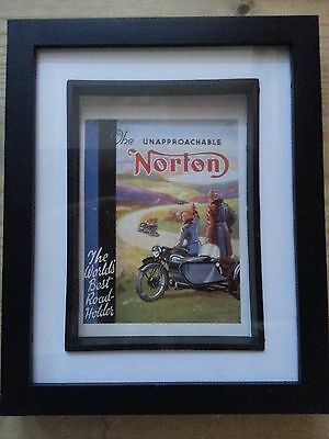 "NORTON MOTORCYCLE POSTER CARD - VINTAGE - FRAMED SHADOW BOX 8.5"" by 10.5"""