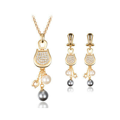 18K Rose Gold Pearl Crystal Rhinestone Plated Necklace Earrings Jewelry Set