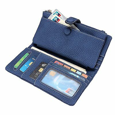 Women Wallet Leather Trifold Card Holder Case Ladies Zipper Clutch Purse with