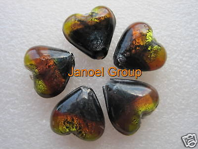 5 pieces, 20mm x 10mm Silver Foil Heart Beads