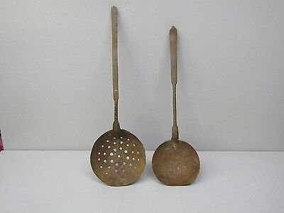 "2 Lot of Antique Vintage Rusty Iron 18"" Ladle Dipper & 20"" Strainer"