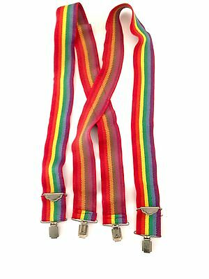 1970s RAINBOW Adjustable Elastic SUSPENDERS Mork & Mindy Gay Pride Vintage