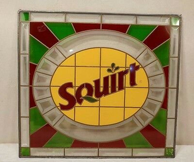 Vintage Squirt Soda Suncatcher Stained Glass Advertising Sign - Beautiful!