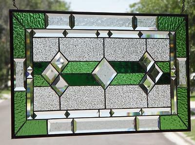 "~CLASSIC GREEN #1-Beveled Stained Glass Window Panel • ≈28 1/2""x15 1/2"" (72x39cm"