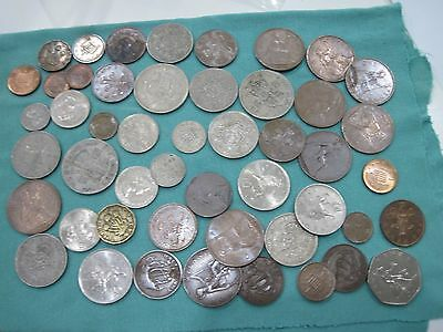 Huge lot of 48 UK Great Britain Coins - Shillings, Pence, 1909-2000's dates