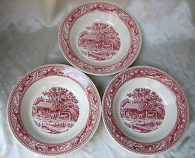 "(3) Royal China MEMORY LANE 8-1/4"" Rim Soup Bowls"
